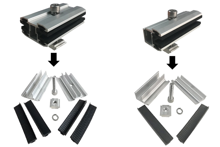 Thin film solar panel clamps